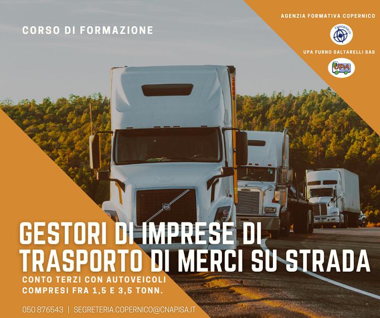 Corso di Formazione – Gestori di imprese di trasporto di merci su strada compresi tra 1.5 e 3.5 tonn.